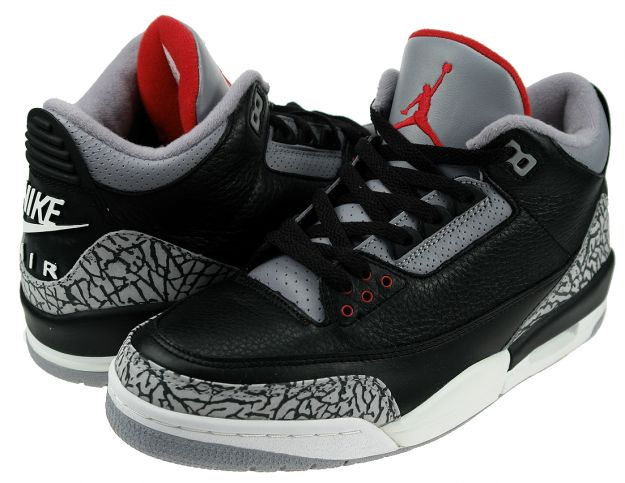 2001 jordan 3 retro black cement grey red shoes