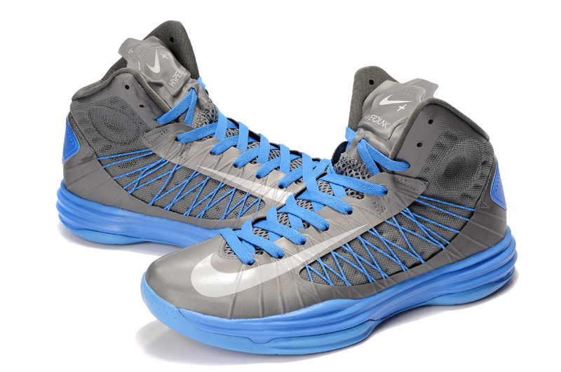 Nike Lunar Hyperdunk X Olympic Grey Baby Blue Blue Logo Shoes