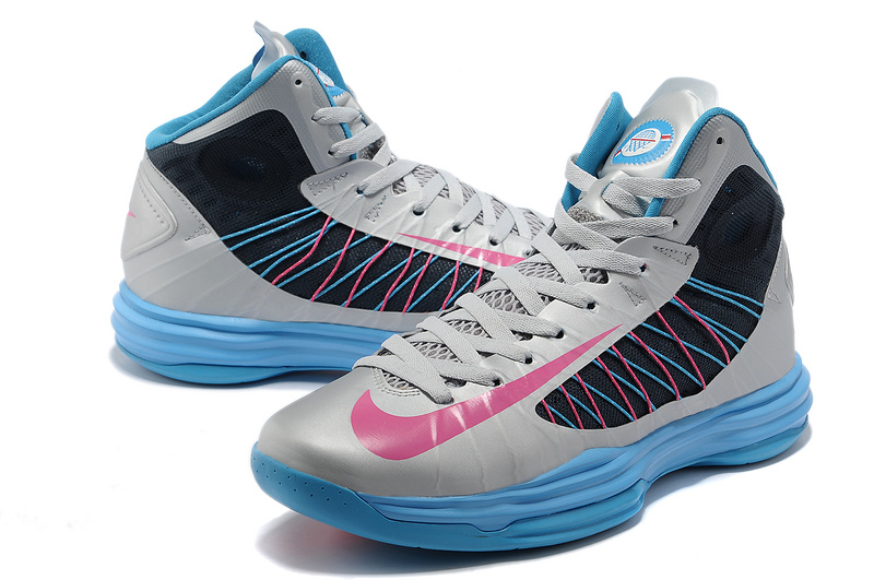 Nike Lunar Hyperdunk X Olympic Grey Blue Black Pink Logo Shoes