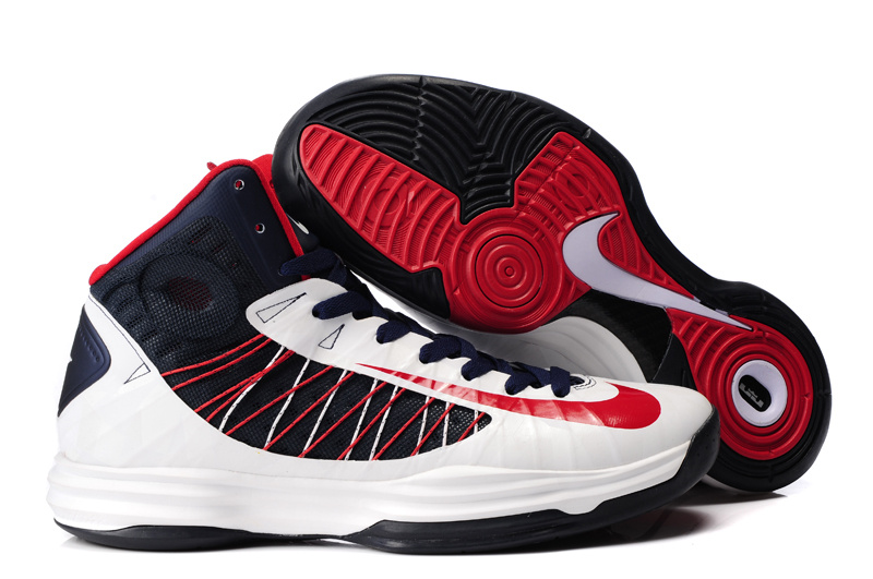Nike Lunar Hyperdunk X Olympic White Black Red Logo Shoes