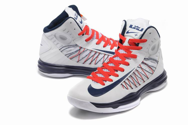 Nike Lunar Hyperdunk X Olympic White Red Blue Logo Shoes