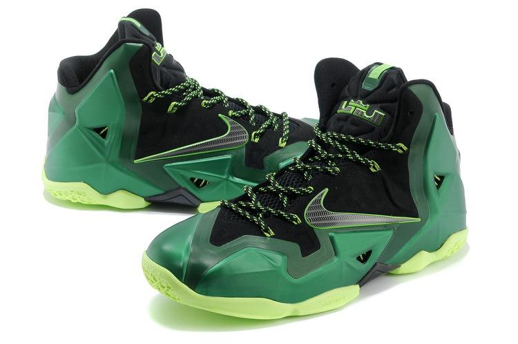 2014 Trendy Nike Lebron James 11 Shoes Black Green Yellow Sale
