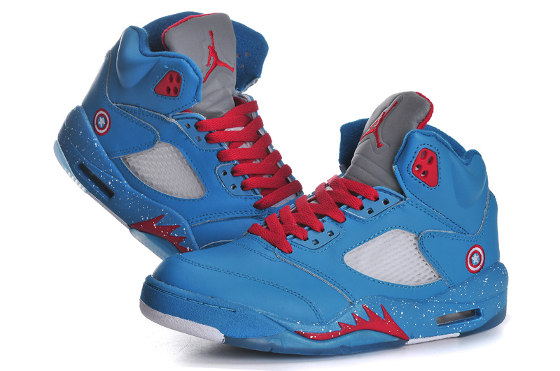 2013 Popular Womens Jordan 5 Ameica Captain Blue Red Shoes
