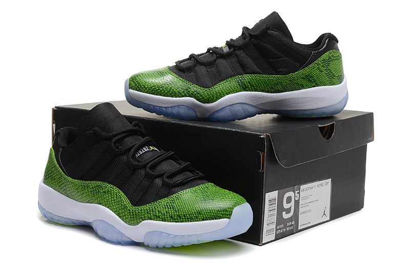 Nike Air Jordan 11 Low Basketball Shoes Black Green Snake Skin White