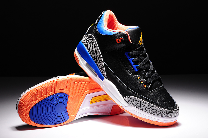 2014 Air Jordan 3 Retro Basketball Shoes Black Grey Blue Orange