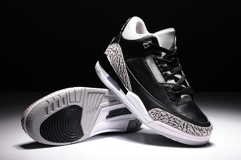 2014 Air Jordan 3 Retro Basketball Shoes Black Grey White