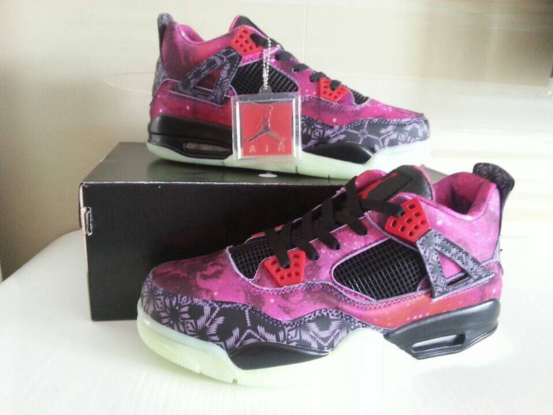 2014 Air Jordan 4 Retro Purple Starry Sky Black Shoes