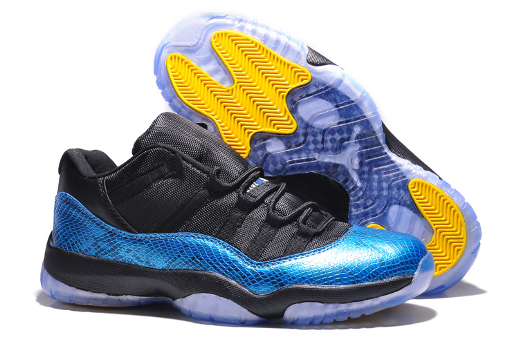 Nike Jordan 11 Low Basketball Shoes Black Blue Yellow