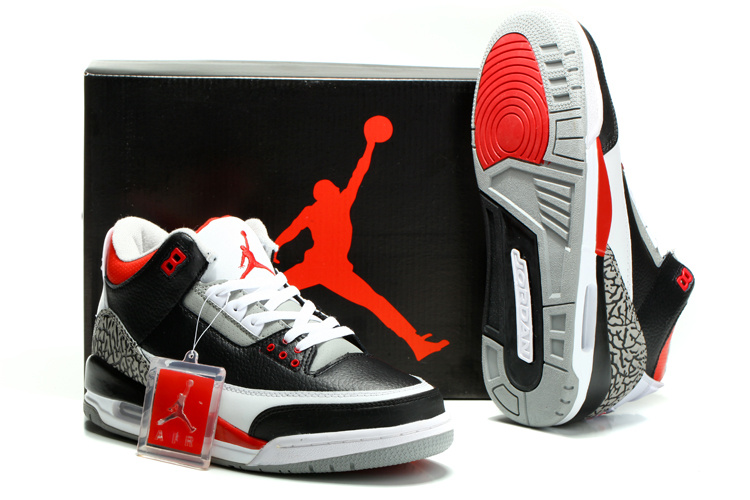 2014 Nike Jordan 3 Retro Shoes Black White Red Cement