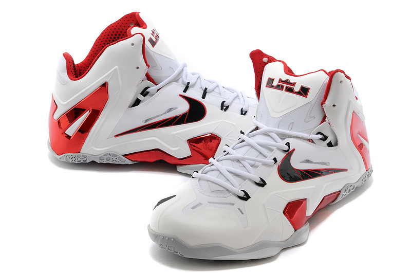 newest nike lebron james 11 elite white red grey with