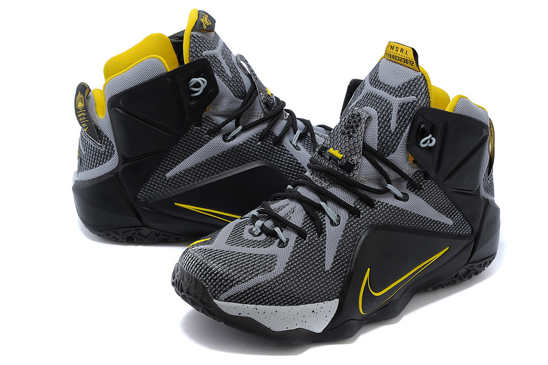 2014 New Nike Lebron James 12 Black Grey Yellow Shoes
