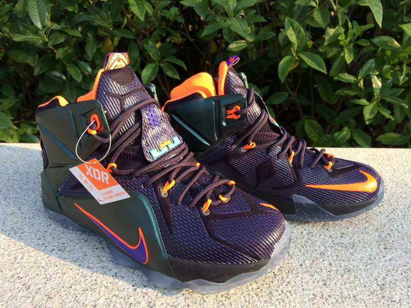 2014 New Nike Lebron James 12 Blue Orange Shoes