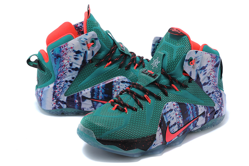 2014 New Nike Lebron James 12 Green Grey Black Red Shoes