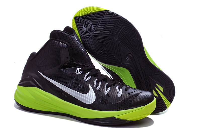 2014 Nike Hyperdunk XDR Black Green Silver Shoes