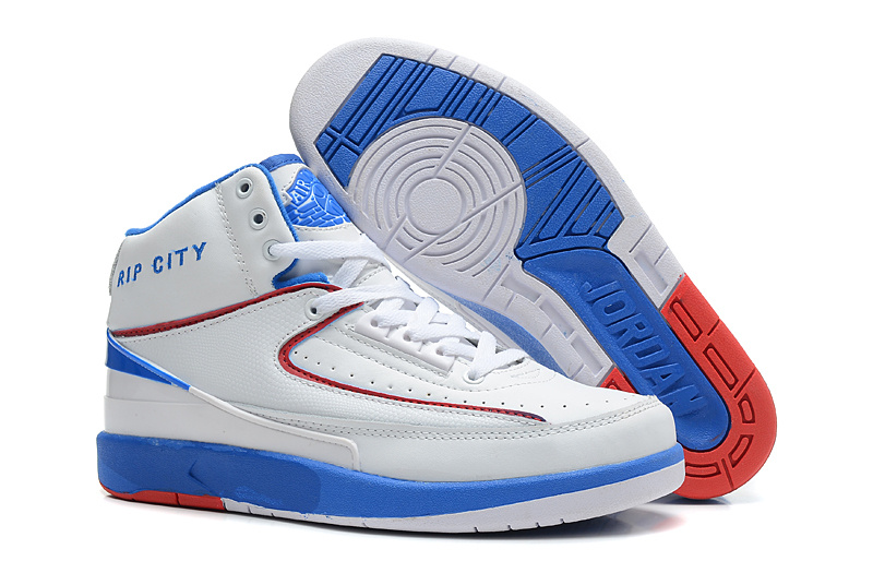 New Nike Air Jordan 2 Basketball Shoes White Blue Red