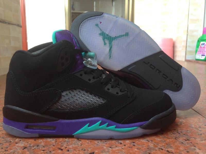 2014 Womens Jordan 5 Shoes Black Purple Blue