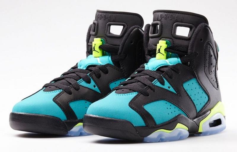 Nike Womens Jordan 6 Of Braizl World Cup GS Turbo Green Black Shoes