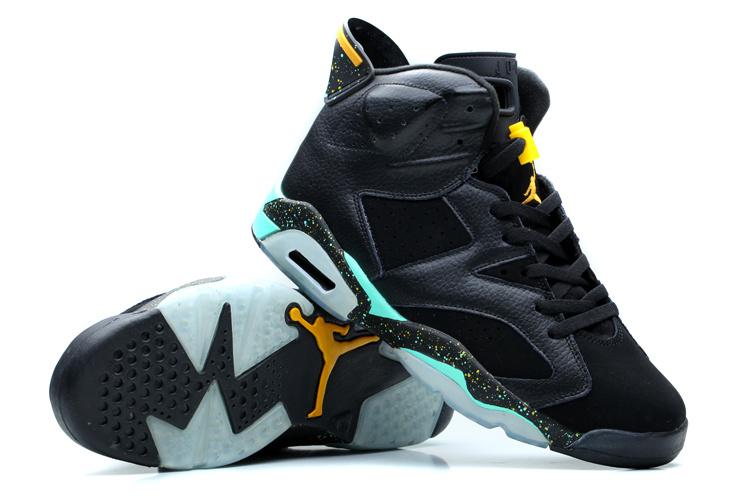 Nike Womens Jordan 6 Retro Black Green Yellow Shoes