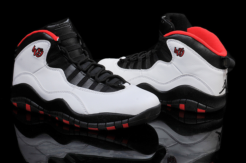 New Air Jordan 10 Retro Basketball Shoes Grey Black Red