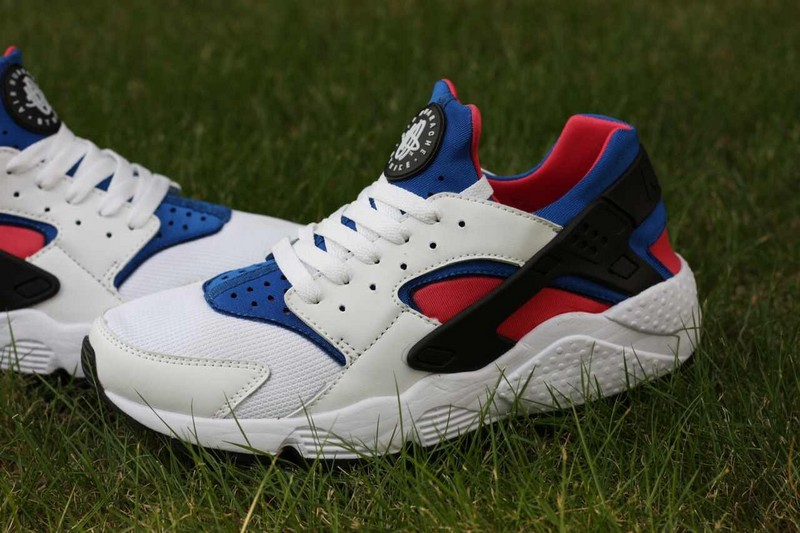 2015 Hot Nike Air Huarache White Red Blue Women's Shoes