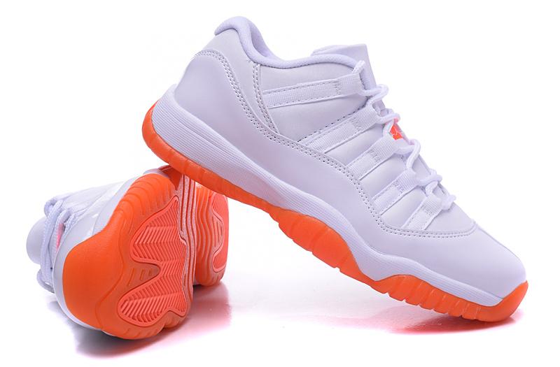 New Air Jordan 11 White Orange Shoes For Women