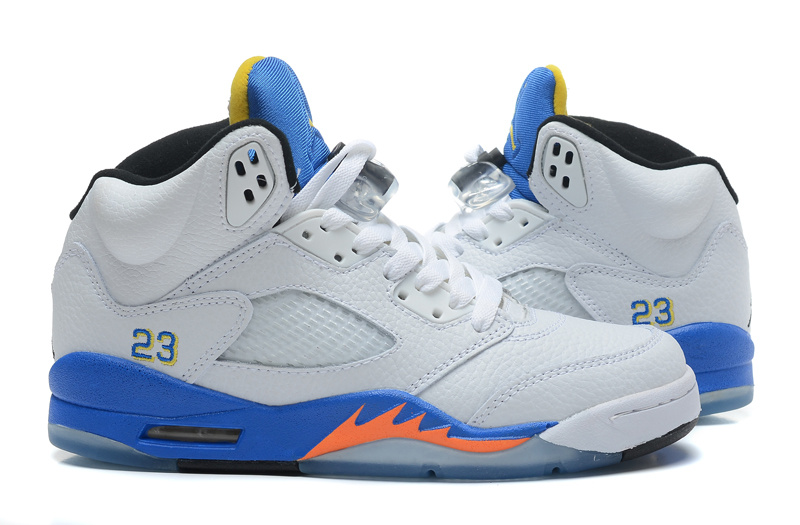 2015 Nike Air Jordan 5 Retro White Blue Orange