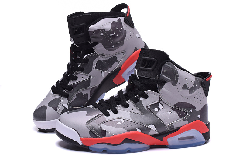 New Air Jordan 6 Lover Army Grey Red Black Shoes