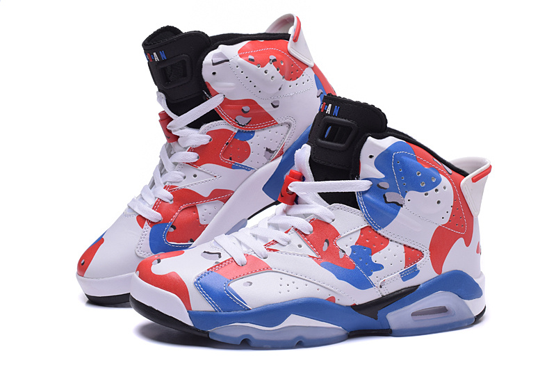 New Air Jordan 6 Lover White Red Blue Shoes