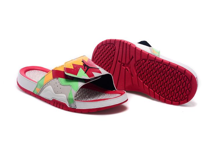 Nike Jordan 7 Hydro Red Orange Green Grey Sandal For Women