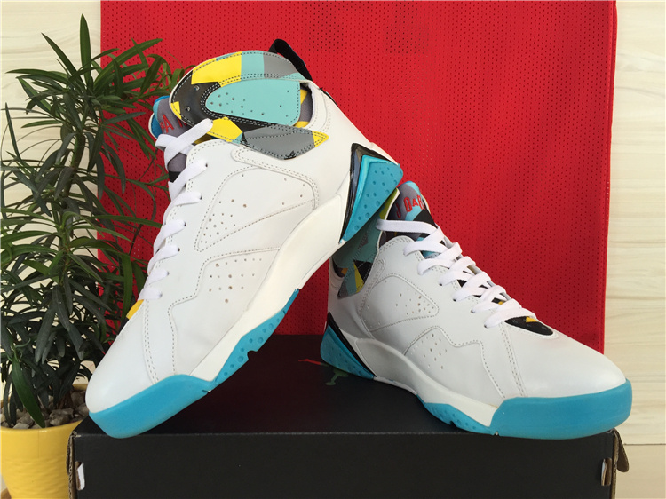 2015 Nike Air Jordan 7 White Baby Blue Yellow