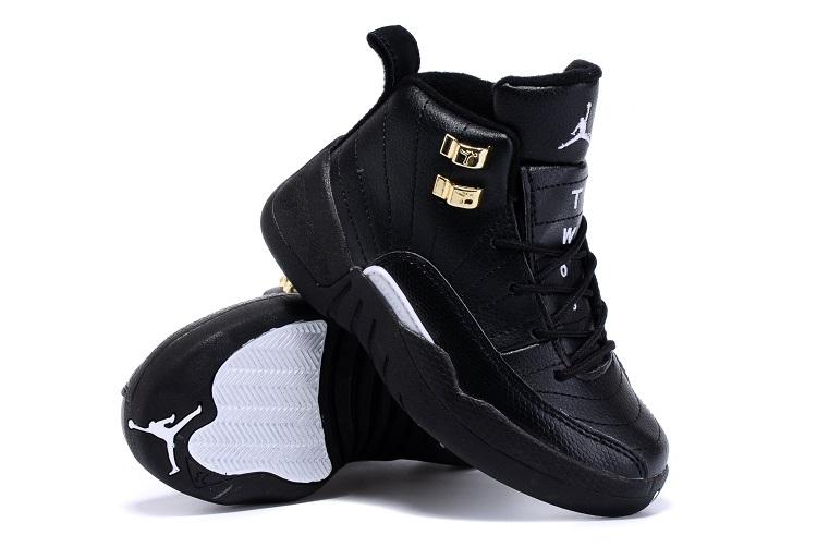 2015 Nike Kids Air Jordan 12 Retro All Black Gold Shoes