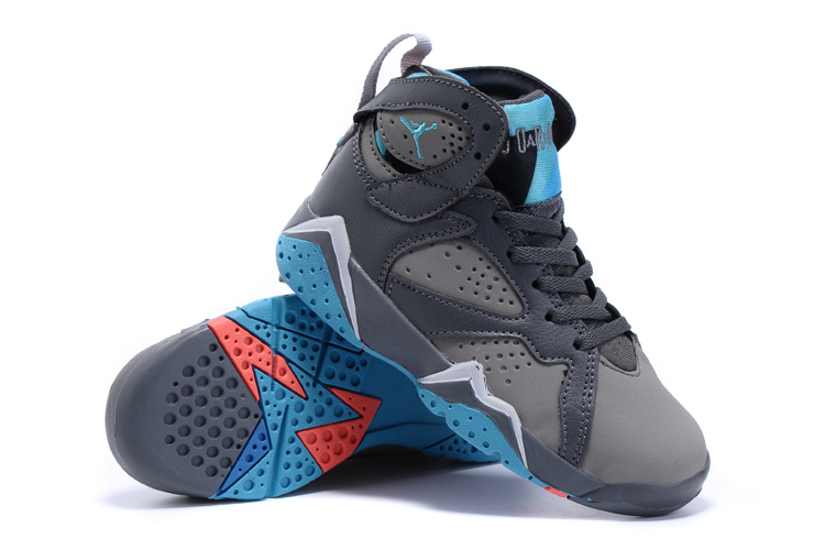2015 Nike Kids Air Jordan 7 Retro Grey Blue Shoes