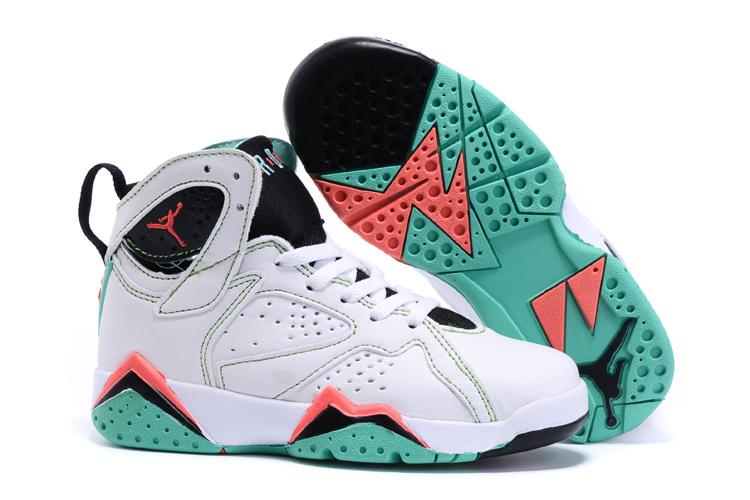 2015 Nike Kids Air Jordan 7 Retro White Black Red Green Shoes