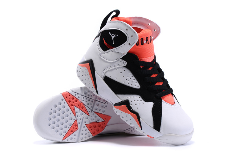 2015 Nike Kids Air Jordan 7 Retro White Black Red Shoes