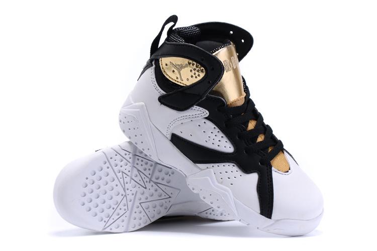 2015 Nike Kids Air Jordan 7 Retro White Gold Shoes