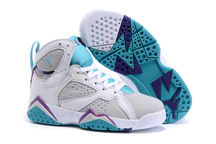 2015 Nike Kids Air Jordan 7 Retro White Grey Baby Blue Shoes