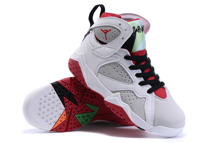 2015 Nike Kids Air Jordan 7 Retro White Grey Red Black Shoes