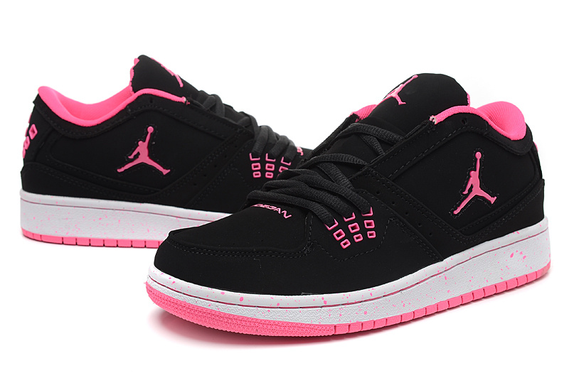 New 2015 Nike Air Jordan 1 Flight Low Black Red Shoes