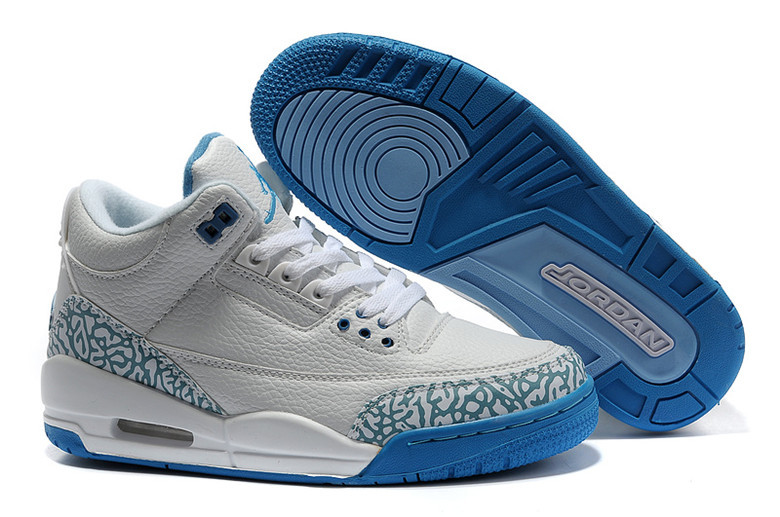 New Nike Air Jordan 3 Retro Grey Blue Shoes