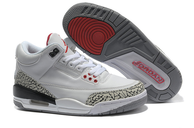 New 2015 Nike Air Jordan 3 Retro White Cement Grey Red Women's Shoes