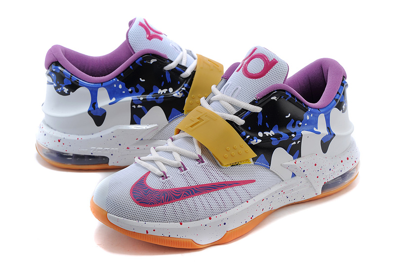 2015 New Kevin Durant 7 White Blue Yellow Purple Basketball Shoes