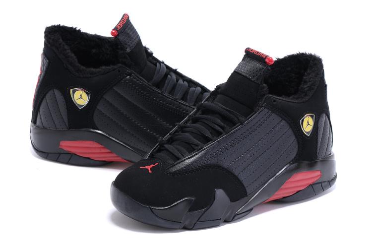 2015 Women Nike Air Jordan 14 Retro Wool Black Red Shoes