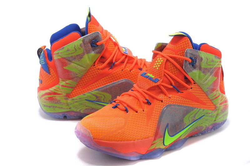 2015 New Nike Lebron 12 Orange Green Grey Shoes