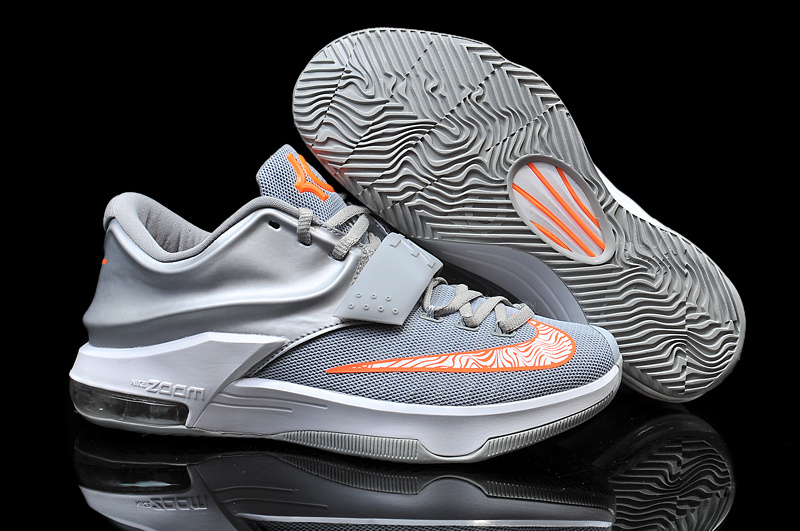 2015 Nike KD 7 Grey Orange Basketball Shoes