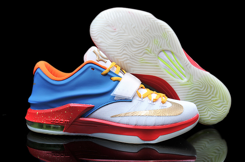 2015 Nike KD 7 White Gold Blue Red Basketball Shoes
