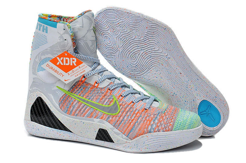 2015 Nike Kobe Bryant 9 High Rainbow Grey Shoes