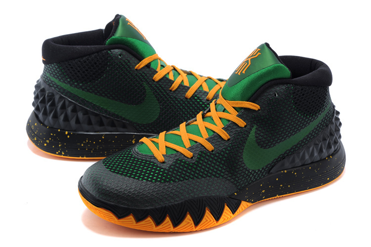 2015 Nike Kyrie 1 Black Green Yellow Basketball Shoes