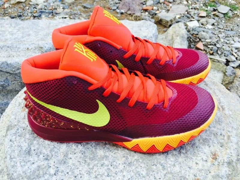 2015 Nike Kyrie 1 Wine Red Orange Yellow Basketball Shoes