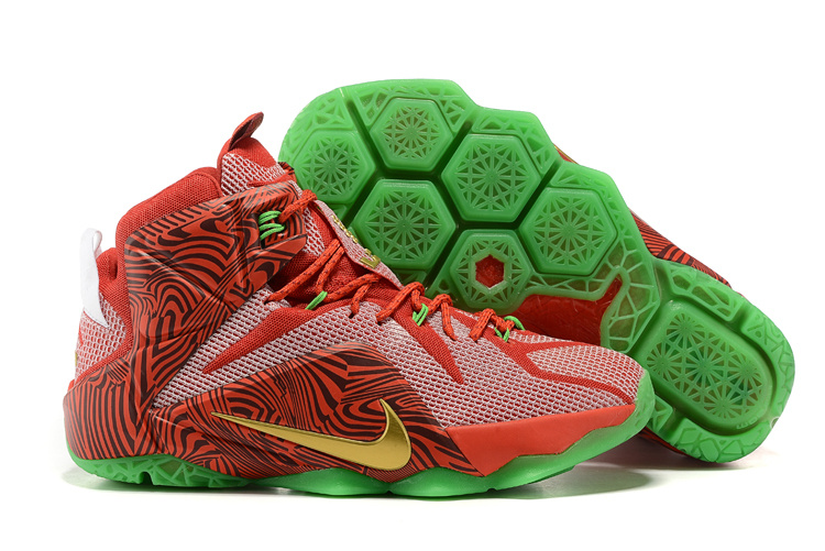 2015 Nike Lebron 12 Sprit Red Green Shoes