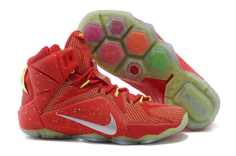 2015 Nike Lebron James 12 All Red Orange Silver Logo Shoes